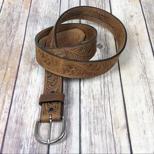 SILVER CREEK tooled leather belt